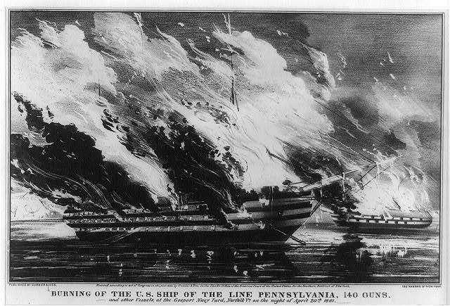 Burning of the U.S. ship of the line Pennsylvania, 140 guns : and other vessels, at the Gosport Navy Yard, Norfolk, Va. on the night of April 20th 1861