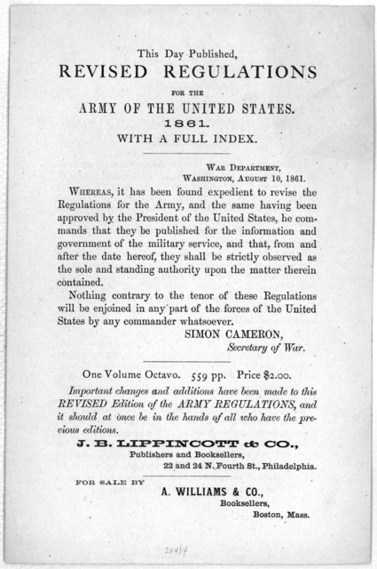 By authority of the President of the United States and the Secretary of war. Revised United States army regulations. At the present time the Revised army regulations is of especial importance ... this elegant and complete edition of the Revised