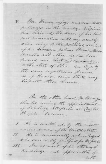 C. Oscanyon to John Hay, Monday, August 05, 1861  (Seeks removal of secretary interpreter at Constantinople)