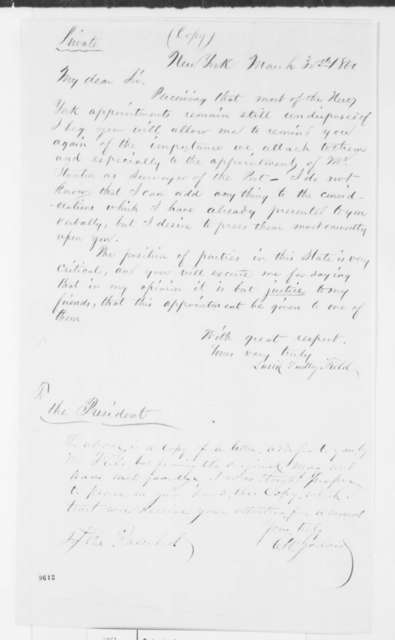 C. W. Godard to Abraham Lincoln, April 1861  (Sends copy of letter from David D. Field to Lincoln)
