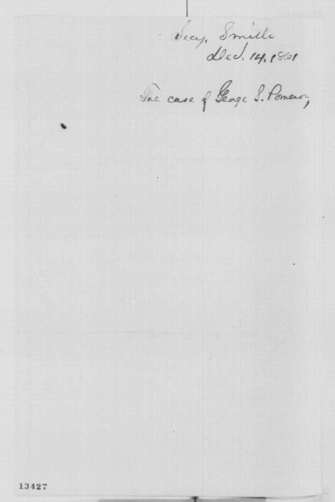 Caleb B. Smith to Abraham Lincoln, Saturday, December 14, 1861  (Removal of clerk from Census Bureau)