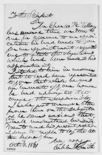 Caleb B. Smith to Abraham Lincoln, Sunday, October 06, 1861  (Appointment)
