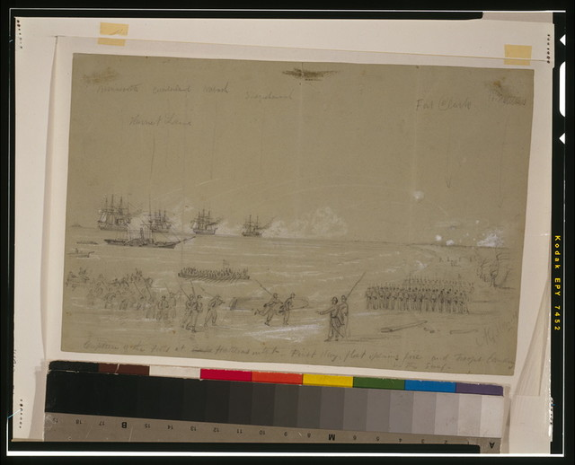 Capture of the Forts at Cape Hatteras inlet-First day, fleet opening fire and troops landing in the surf