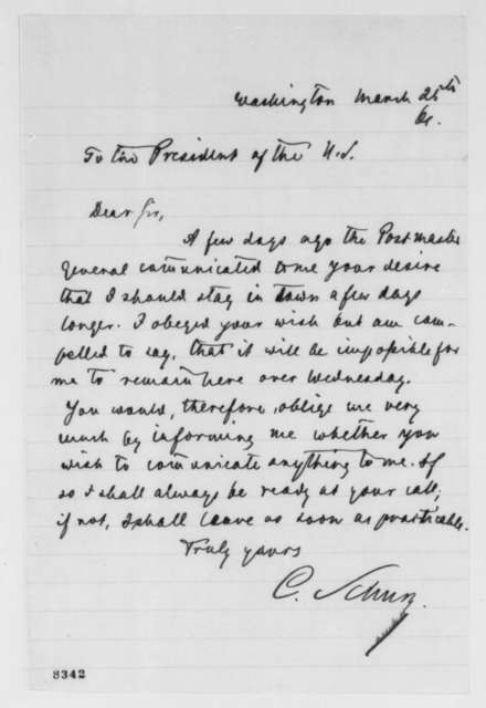 Carl Schurz to Abraham Lincoln, Monday, March 25, 1861  (Ready to meet with Lincoln)