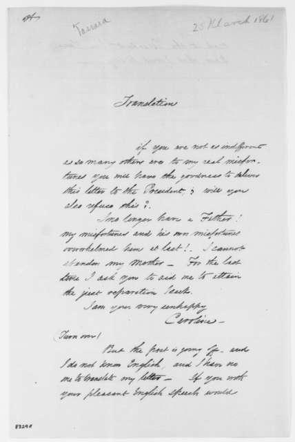 Carolina Coronado to Garcia Y. Tassaro, Monday, March 25, 1861  (Requests that he translate letters)
