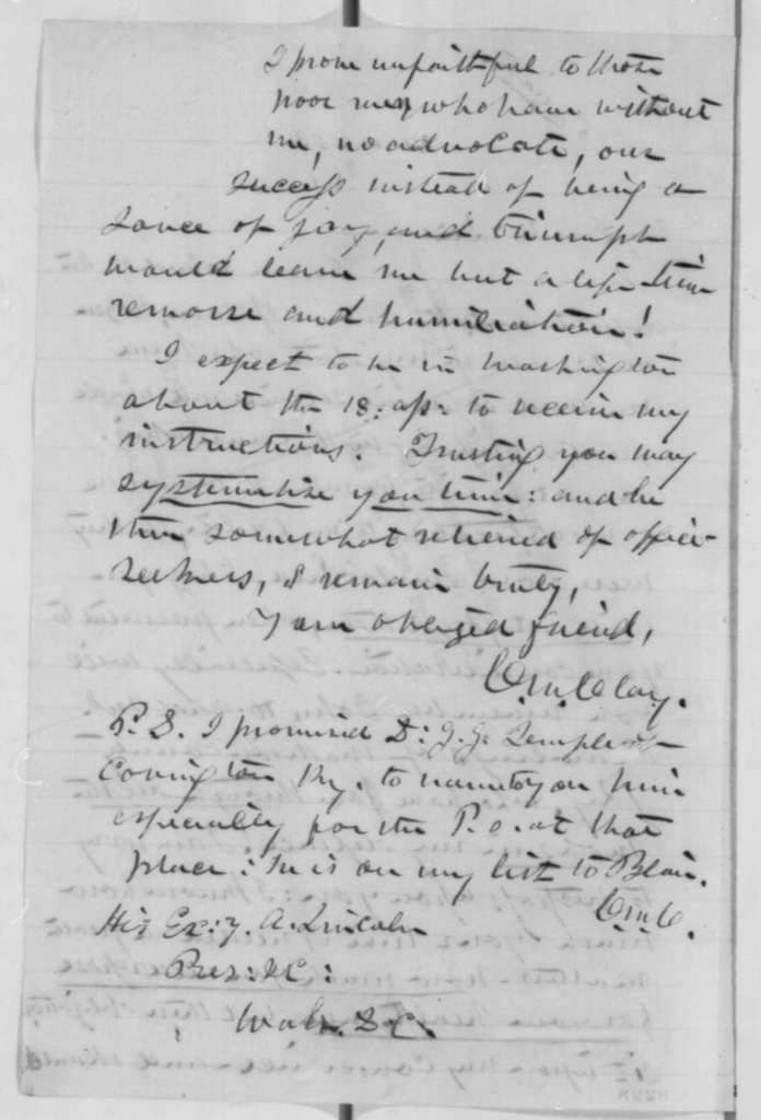 Cassius M. Clay to Abraham Lincoln, Saturday, March 23, 1861  (Patronage in Kentucky)