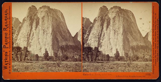 Cathedral Rock, 2000 feet, Yosemite Valley, Mariposa County, Cal.