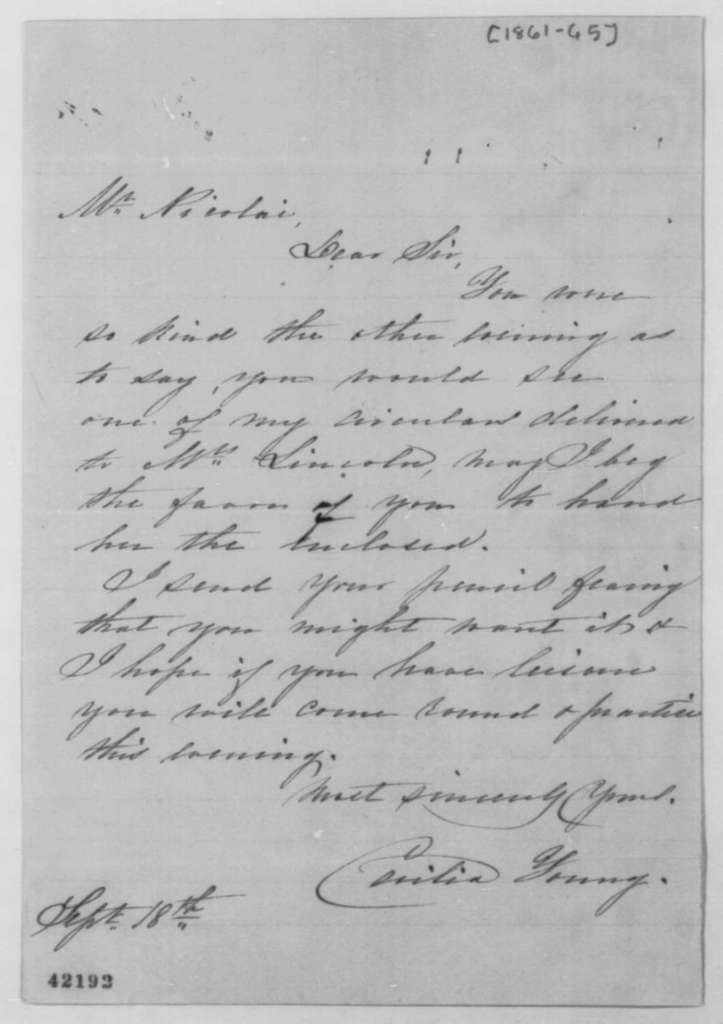 Cecilia Young to John G. Nicolay, 1861-65  (Cover letter)