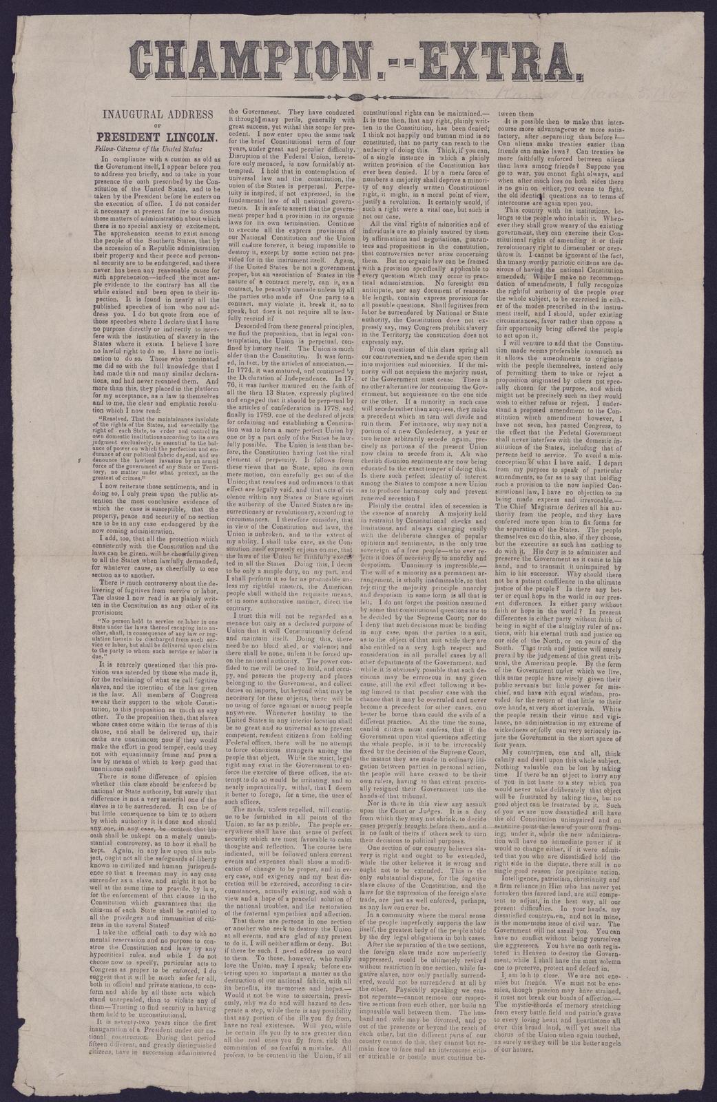 Champion. Extra. Inaugural Address, President Lincoln, [Newspaper].
