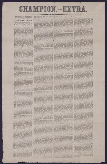 Champion. Extra. Inaugural Address, President Lincoln, [Newspaper].
