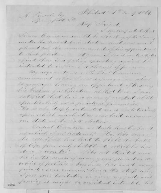 Charles Adams to Abraham Lincoln, Wednesday, January 09, 1861  (Supports Cameron)