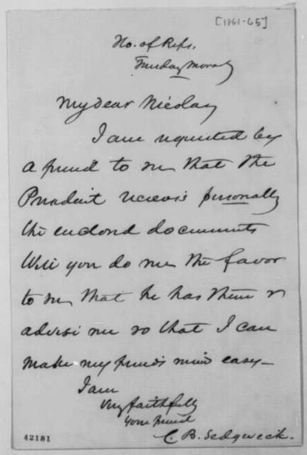 Charles B. Sedgwick to John G. Nicolay, 1861-65  (Cover letter)