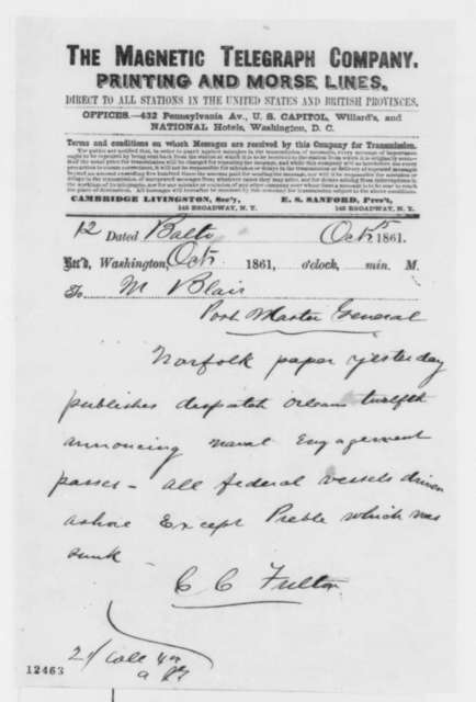 Charles C. Fulton to Montgomery Blair, Tuesday, October 15, 1861  (Telegram regarding military affairs)