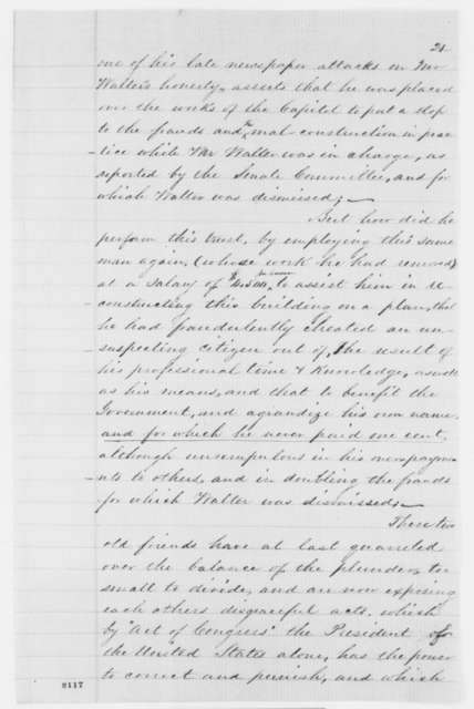 Charles F. Anderson to Abraham Lincoln, Friday, March 15, 1861  (Memorial on dispute over plans to enlarge the U.S. Capitol)