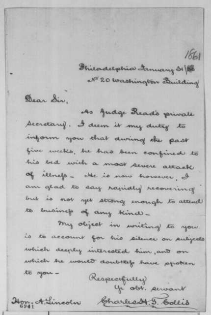 Charles H. T. Collis to Abraham Lincoln, Thursday, January 31, 1861  (Judge Read's illness)