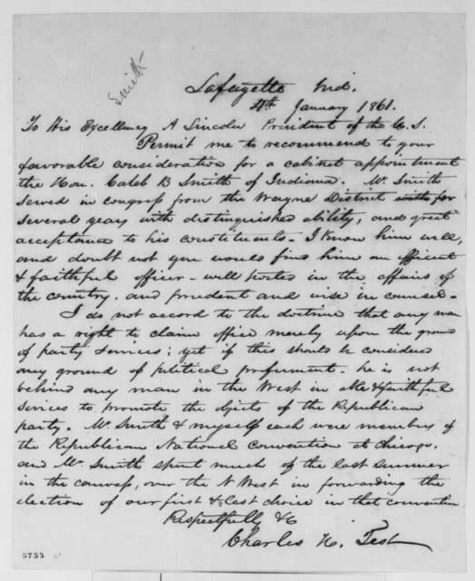Charles H. Test to Abraham Lincoln, Friday, January 04, 1861  (Recommendation for Caleb Smith)