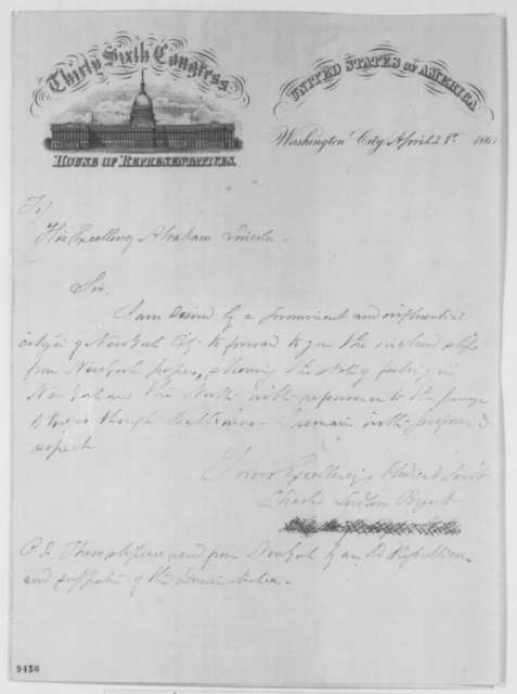 Charles L. Bogert to Abraham Lincoln, Sunday, April 28, 1861 (Cover ...