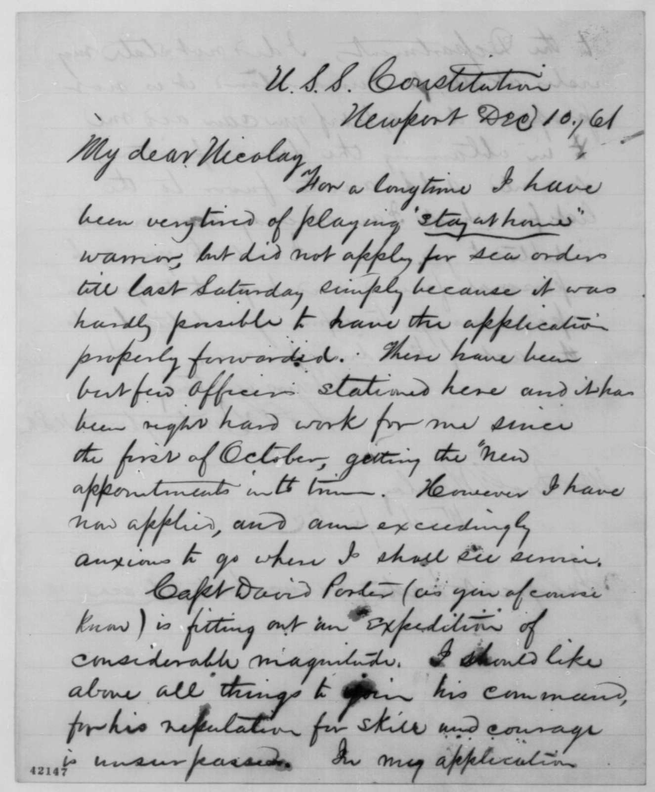 Charles L. Huntington to John G. Nicolay, Tuesday, December 10, 1861  (Wants to join David Porter's expedition)