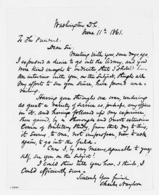 Charles Naylor to Abraham Lincoln, Tuesday, June 11, 1861  (Seeks interview)