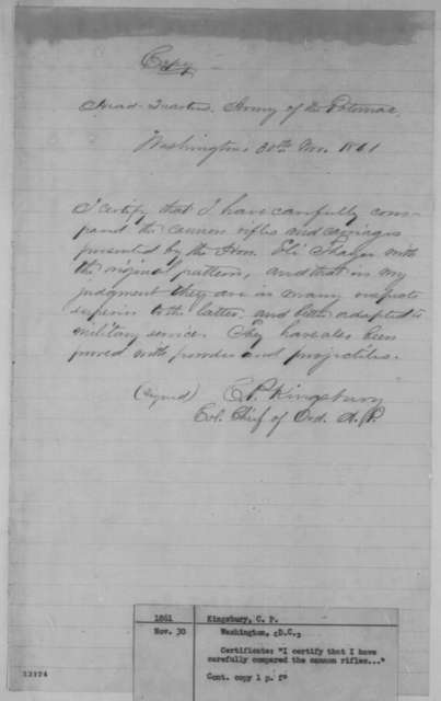 Charles P. Kingsbury, Saturday, November 30, 1861  (Certification)