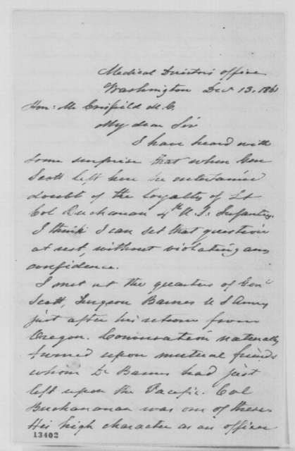 Charles S. Tripler to John Crisfield, Friday, December 13, 1861  (Loyalty of Col. Buchanan)