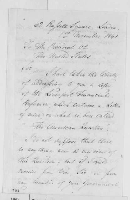 Charles Tennant to Abraham Lincoln, Friday, November 01, 1861  (Support from England)