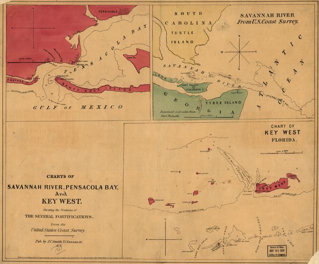 Charts of Savannah River, Pensacola Bay, and Key West. Showing the positions of the several fortifications. From the United States Coast Survey