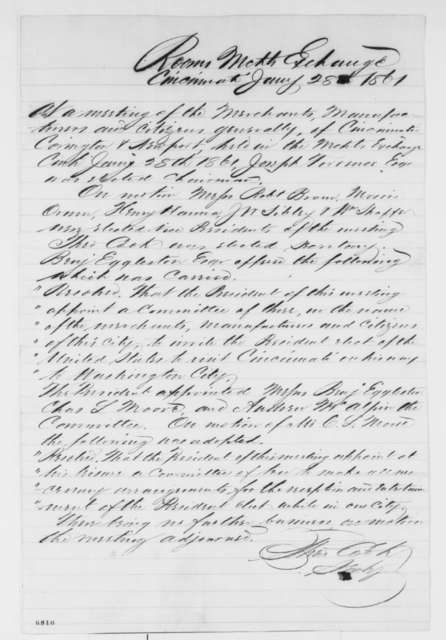 Cincinnati Ohio Industrialists, Monday, January 28, 1861  (Resolutions inviting Lincoln to visit)