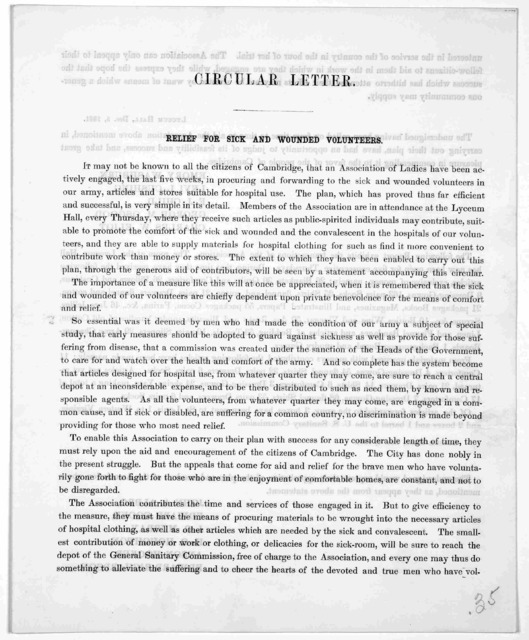 Circular letter. Relief for sick and wounded volunteers ... [Cambridge] Dec. 4, 1861.