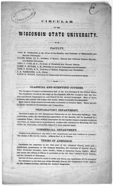 Circular of the Wisconsin state University Madison, July, 1861.
