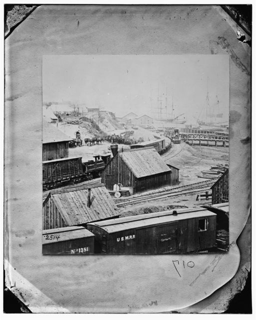 City Point, Virginia. Railroad yard and transports