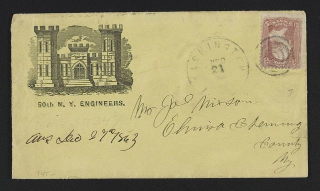 [Civil War envelope for 50th New York Engineer Regiment showing armory building]