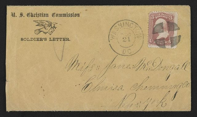 [Civil War envelope for U.S. Christian Commission showing carrier pigeon with letter]