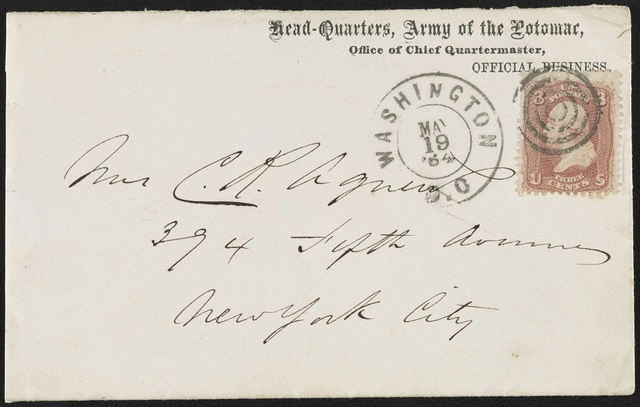 [Civil War envelope from the headquarters of the Army of the Potomac, Office of Chief Quartermaster]