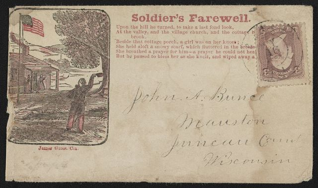 "[Civil War envelope showing a soldier waving goodbye to people on a porch with message ""Soldier's farewell"" and verses from a song]"