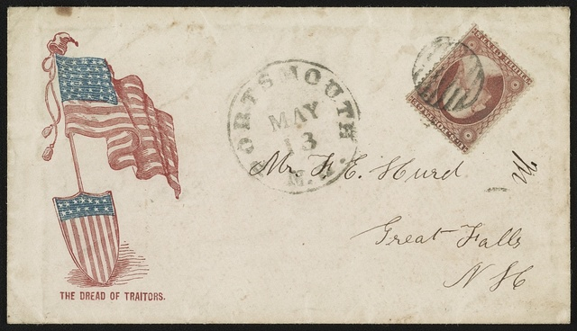 "[Civil War envelope showing American flag and shield, with message ""The dread of traitors""]"