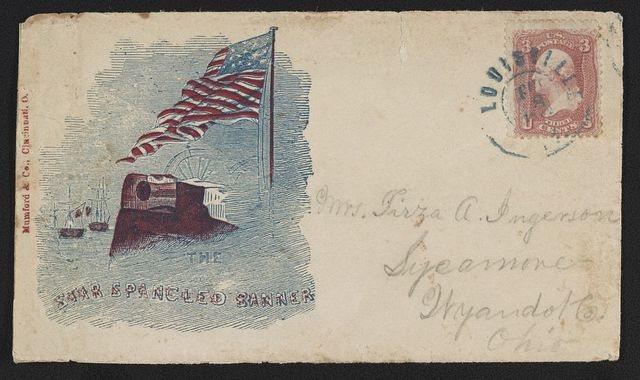 "[Civil War envelope showing American flag, cannon, and ships with message ""The Star Spangled Banner""]"