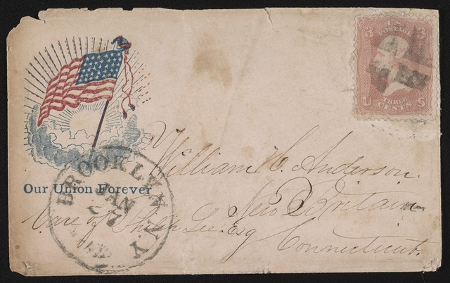"[Civil War envelope showing American flag in sunburst with message ""Our Union forever""]"