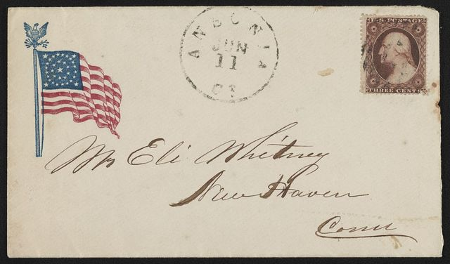 [Civil War envelope showing American flag with eagle and laurel atop flagpole]