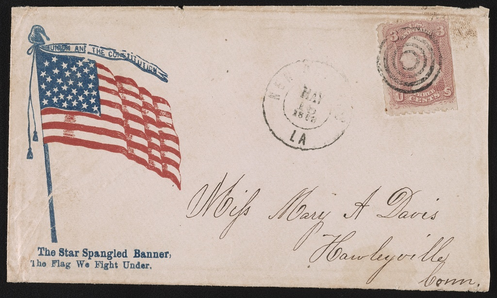"[Civil War envelope showing American flag with message ""The star spangled banner, the flag we fight under""]"