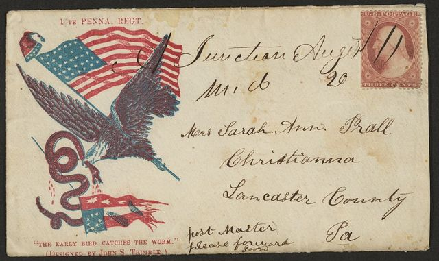 "[Civil War envelope showing an eagle carrying an American flag in its claw and a serpent in its beak with motto ""The early bird catches the worm"" below]"