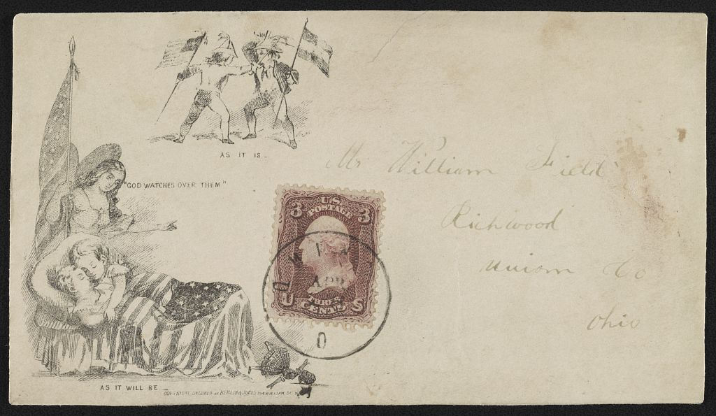 """[Civil War envelope showing angel holding American flag watching over sleeping children with broken doll on floor; also two boys sparring, one with Union flag and the other with Confederate flag; with messages """"As it is,"""" """"God watches over them,"""" and """"As it will be""""]"""