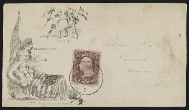 "[Civil War envelope showing angel holding American flag watching over sleeping children with broken doll on floor; also two boys sparring, one with Union flag and the other with Confederate flag; with messages ""As it is,"" ""God watches over them,"" and ""As it will be""]"