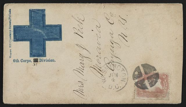 [Civil War envelope showing Army of the Potomac, 6th Corps, 3rd Division, badge with blue cross]