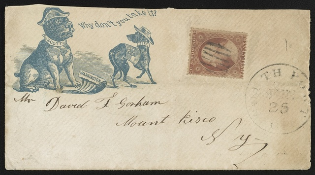 "[Civil War envelope showing caricatures of Winfield Scott and Jefferson Davis as dogs and Washington, D.C., as a cut of meat, with message ""Why don't you take it?""]"