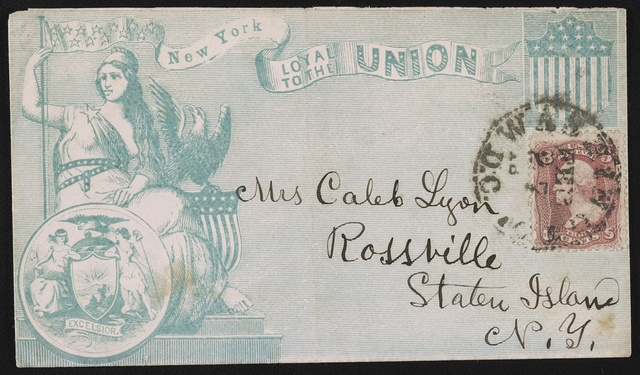 """[Civil War envelope showing Columbia, eagle, shield, state seal of New York, and banner with message """"New York loyal to the Union""""]"""