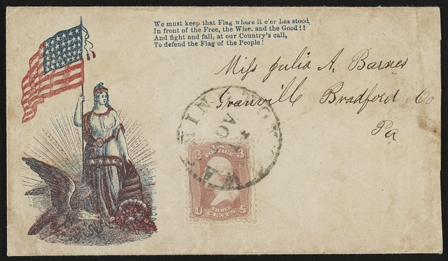[Civil War envelope showing Columbia holding American flag and cornucopia next to an eagle with a snake in its beak, and with a verse from a song]