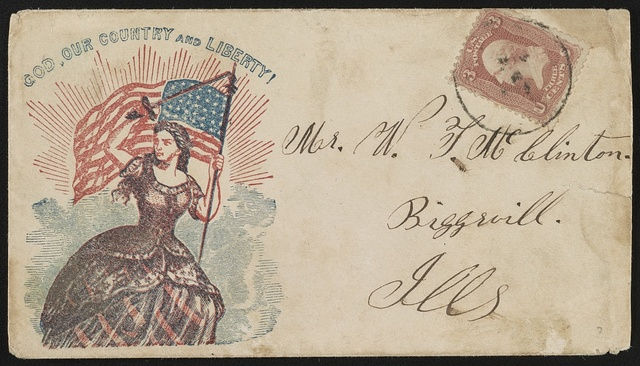 "[Civil War envelope showing Columbia holding sword and American flag, with message ""God, our country and liberty!""]"