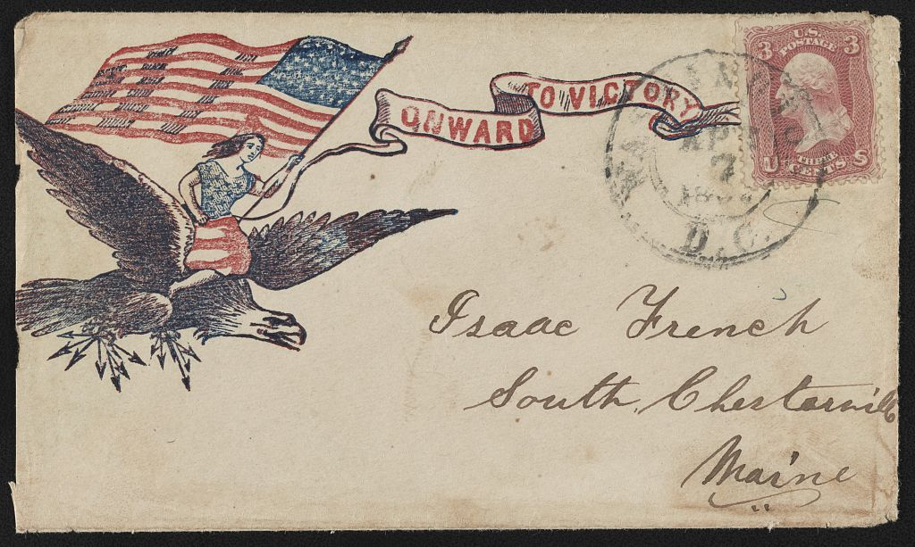 """[Civil War envelope showing Columbia waving American flag and riding on the back of an eagle clutching arrows with message """"Onward to victory""""]"""
