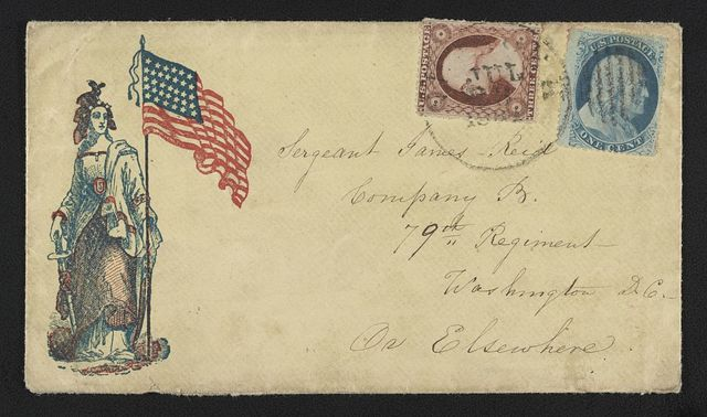 [Civil War envelope showing Columbia with American flag and sword]